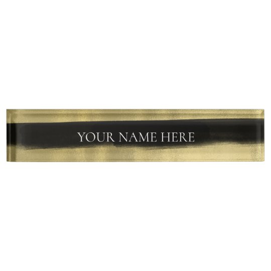 Modern Glam Black & Gold Brush Stroke Stripe Nameplate