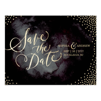 Modern glam black gold calligraphy save the date postcard