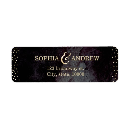 Modern glam black gold glitter return address