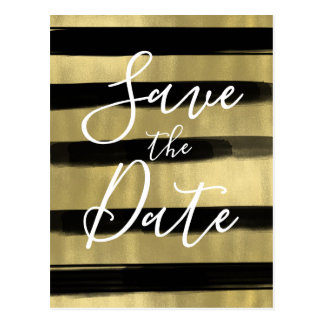 Modern Glam Black Gold Paint Stroke Save the Date Postcard