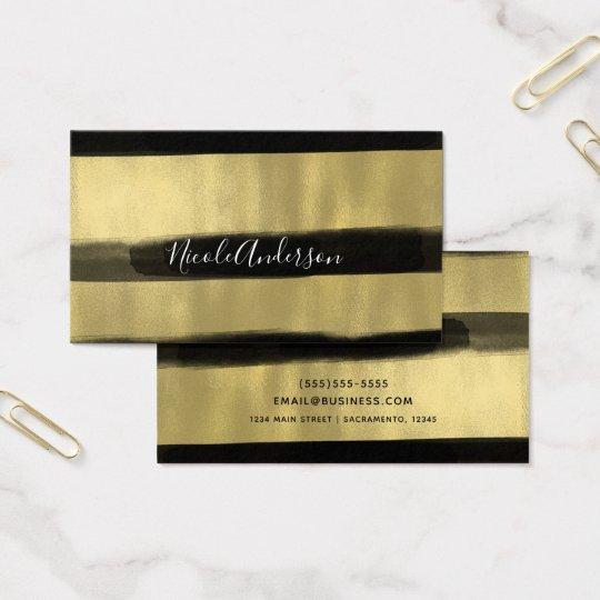 Modern Glam Black & Gold Paint Stroke Stripe Business Card