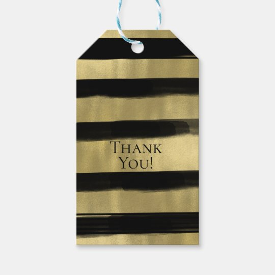 Modern Glam Black & Gold Paint Stroke Stripe Gift Tags
