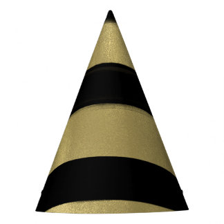 Modern Glam Black & Gold Paint Stroke Stripe Party Party Hat
