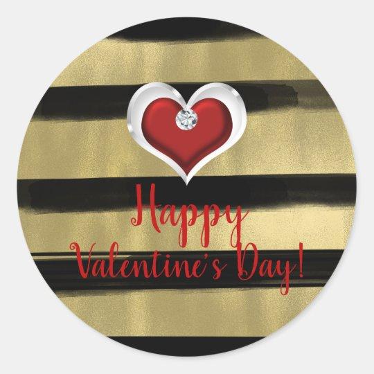 Modern Glam Black & Gold Red Heart Bling Valentine Classic Round Sticker
