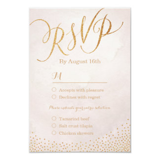 "Modern glam blush rose gold calligraphy RSVP 3.5"" X 5"" Invitation Card"