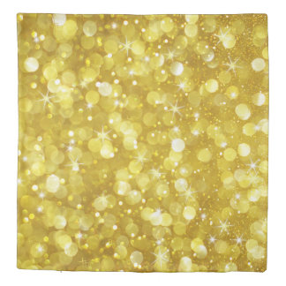 Modern Glam Gold Bokeh Glitter Duvet Cover