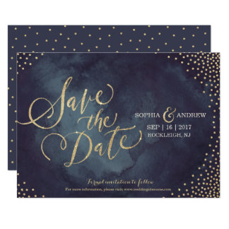 "Modern glam gold glitter calligraphy save the date 5"" x 7"" invitation card"