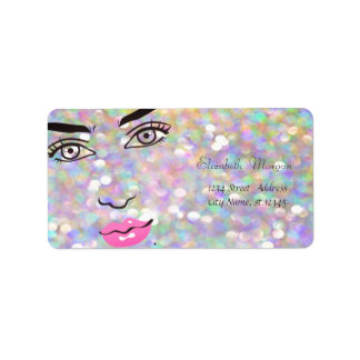 Modern Glamorous  Stylish Colorful,Bokeh,Girl Face Label