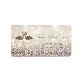 Modern Glamorous  Stylish Glitery Bokeh,Flamingos Label