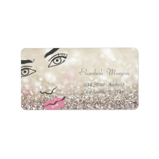 Modern Glamorous  Stylish Glitery Bokeh,Girl Face Label