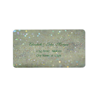 Modern Glamorous  Stylish Green,Glittery,Bokeh Label