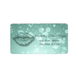Modern Glamorous  Stylish Mint Greenl,Bokeh,Lips Label