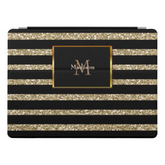 Modern glitter gold black stripes monogram name iPad pro cover