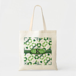 Modern Go Green & Recycle Collage Monogram Budget Tote Bag
