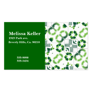 Modern Go Green & Recycle Collage Monogram Business Card
