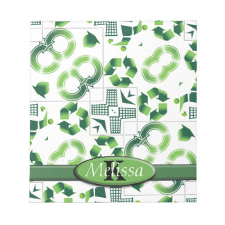 Modern Go Green & Recycle Collage Monogram Notepad