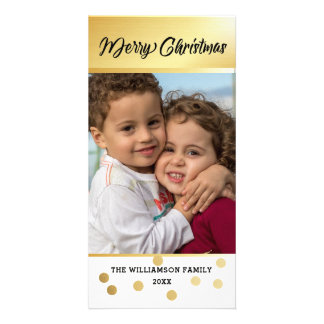 Modern Gold Accent Christmas Photo Card 2017