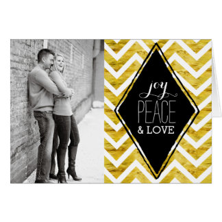 Modern Gold and Black Holiday Photo Cards