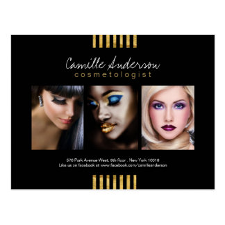 Modern Gold and Black Makeup Artistry Comp Card