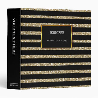 Modern gold and black stripes personal binder
