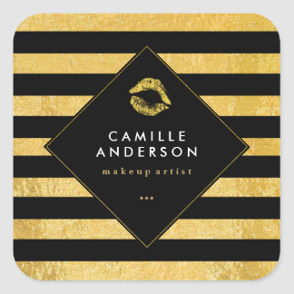 Modern Gold and Black Stripes with Faux Gold Lips Square Sticker