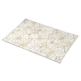 Modern gold and marble geometric star flower image placemat