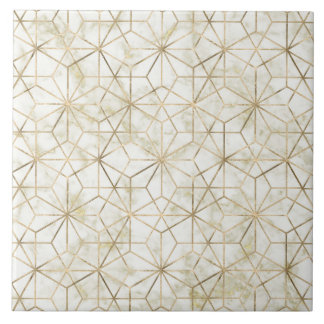 Modern gold and marble geometric star flower image tile