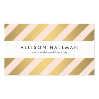 Modern Gold and Peach Diagonal Stripes Business Card Templates