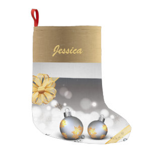 Modern Gold and Silver Christmas Small Christmas Stocking