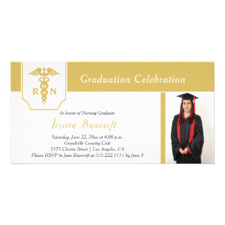 Modern Gold and White Photo Nursing Graduation Card