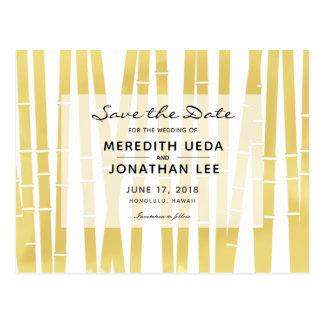 Modern Gold Bamboo Wedding Save the Date Postcard