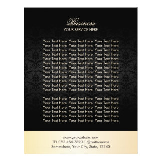 Modern Gold & Black Damask Elegant Brochures