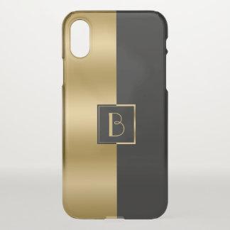 Modern Gold & Black Stripe Geometric Design 2a iPhone X Case