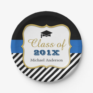 Modern Gold Black Stripes Grad Graduation Favor Paper Plate