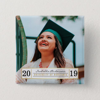 Modern Gold Black & White Graduation Party | Photo 2 Inch Square Button