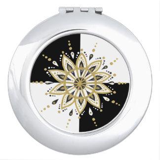 Modern Gold Black & White Mandala Design Vanity Mirror