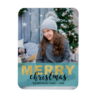 Modern Gold Blue Merry Christmas - Photo Magnet
