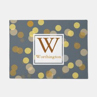 Modern Gold Bokeh Dots - Personalized Doormat