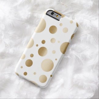 Modern Gold Brushed Dots Confetti Barely There iPhone 6 Case