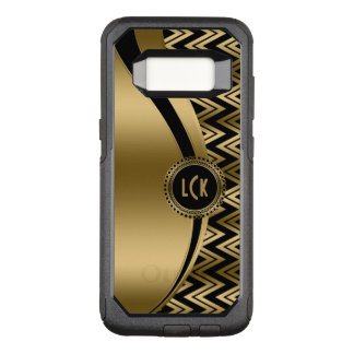 Modern Gold Chevron & Stripes On Black Background OtterBox Commuter Samsung Galaxy S8 Case