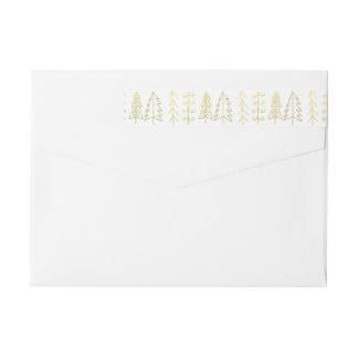 Modern Gold Christmas Trees Pattern Wraparound Return Address Label