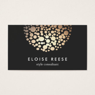 Modern Gold Circles Beauty Salon Business Card