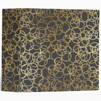 Modern Gold Circles on Charcoal Black Vinyl Binder