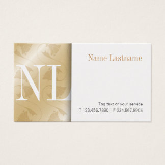 Modern Gold Clean White Monogram Business Card