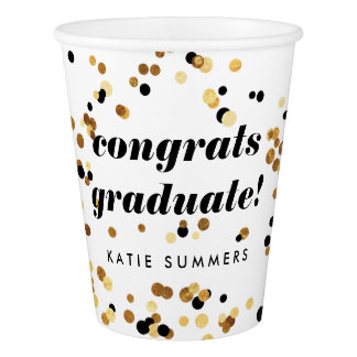 Modern Gold Confetti Personalized Party Cup