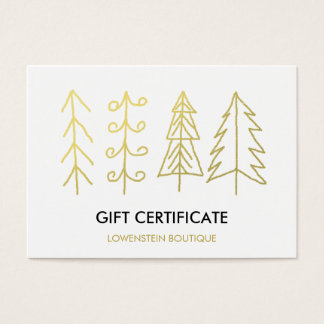 Modern Gold Cute Christmas Trees Gift Certificate