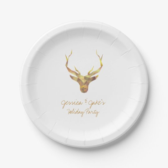 Modern Gold Deer, Holiday 7 Inch Paper Plate