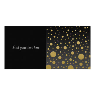 Modern Gold Dots on Black Background Customized Photo Card