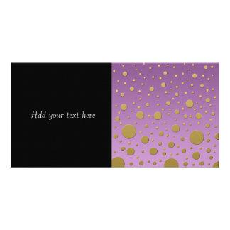 Modern Gold Dots on Purple Background Photo Card