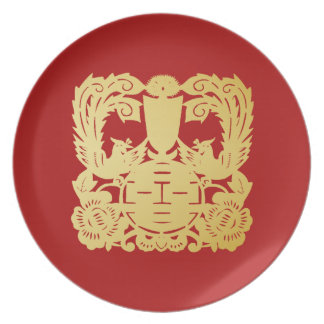 Modern Gold Double Happiness Wedding No. 48 Plate